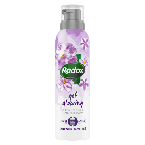 Radox-African Violet (Get Glowing) SHOWERFOAM-CAN-200ml-UK IE-COP-Tube